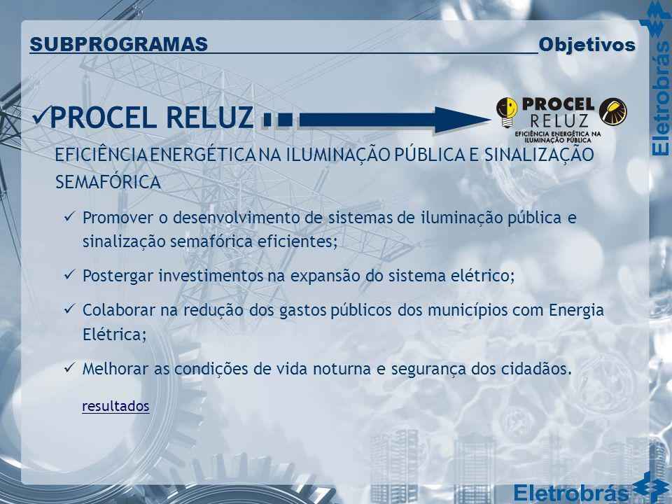 PROCEL RELUZ EFICIÊNCIA ENERGÉTICA NA ILUMINAÇÃO PÚBLICA E SINALIZAÇÃO SEMAFÓRICA Promover o desenvolvimento de sistemas de iluminação pública e sinal