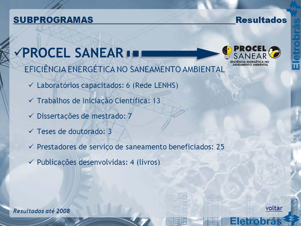 PROCEL SANEAR EFICIÊNCIA ENERGÉTICA NO SANEAMENTO AMBIENTAL Laboratórios capacitados: 6 (Rede LENHS) Trabalhos de Iniciação Científica: 13 Dissertaçõe