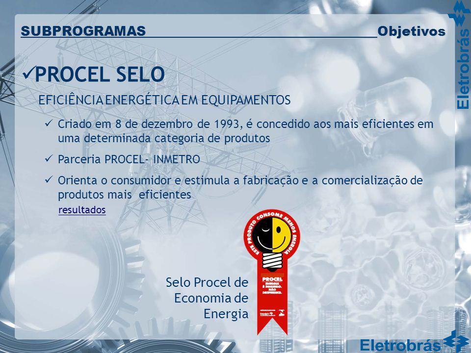 PROCEL SELO EFICIÊNCIA ENERGÉTICA EM EQUIPAMENTOS Criado em 8 de dezembro de 1993, é concedido aos mais eficientes em uma determinada categoria de pro