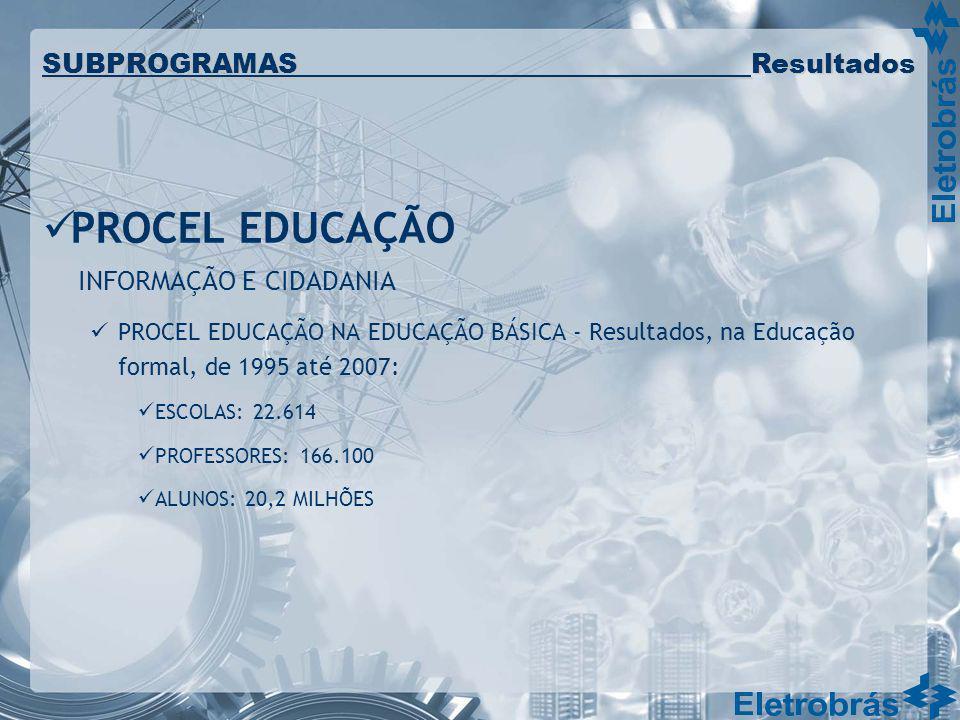 PROCEL EDUCAÇÃO INFORMAÇÃO E CIDADANIA PROCEL EDUCAÇÃO NA EDUCAÇÃO BÁSICA - Resultados, na Educação formal, de 1995 até 2007: ESCOLAS: 22.614 PROFESSO