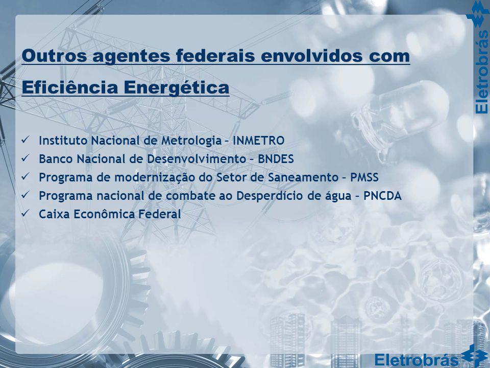 Outros agentes federais envolvidos com Eficiência Energética Instituto Nacional de Metrologia – INMETRO Banco Nacional de Desenvolvimento – BNDES Prog