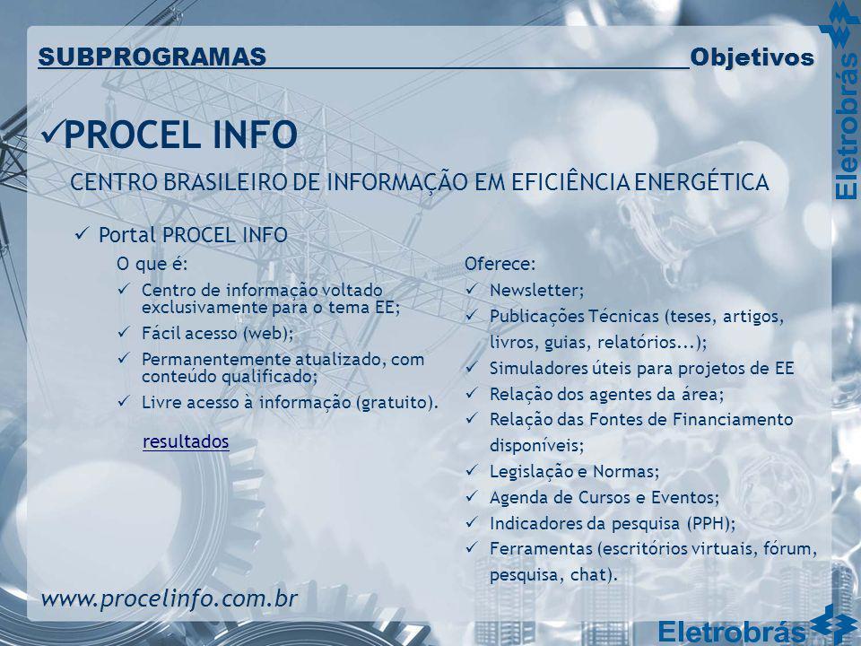 Portal PROCEL INFO O que é: Centro de informação voltado exclusivamente para o tema EE; Fácil acesso (web); Permanentemente atualizado, com conteúdo q