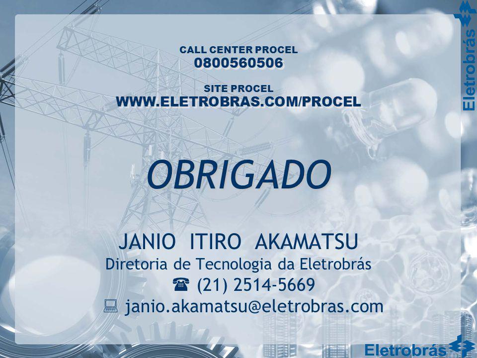 CALL CENTER PROCEL SITE PROCEL 0800560506 WWW.ELETROBRAS.COM/PROCEL JANIO ITIRO AKAMATSU Diretoria de Tecnologia da Eletrobrás (21) 2514-5669 janio.ak