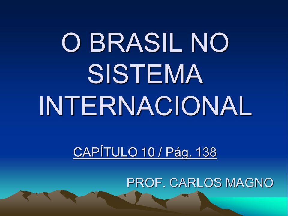 O BRASIL NO SISTEMA INTERNACIONAL CAPÍTULO 10 / Pág. 138 PROF. CARLOS MAGNO