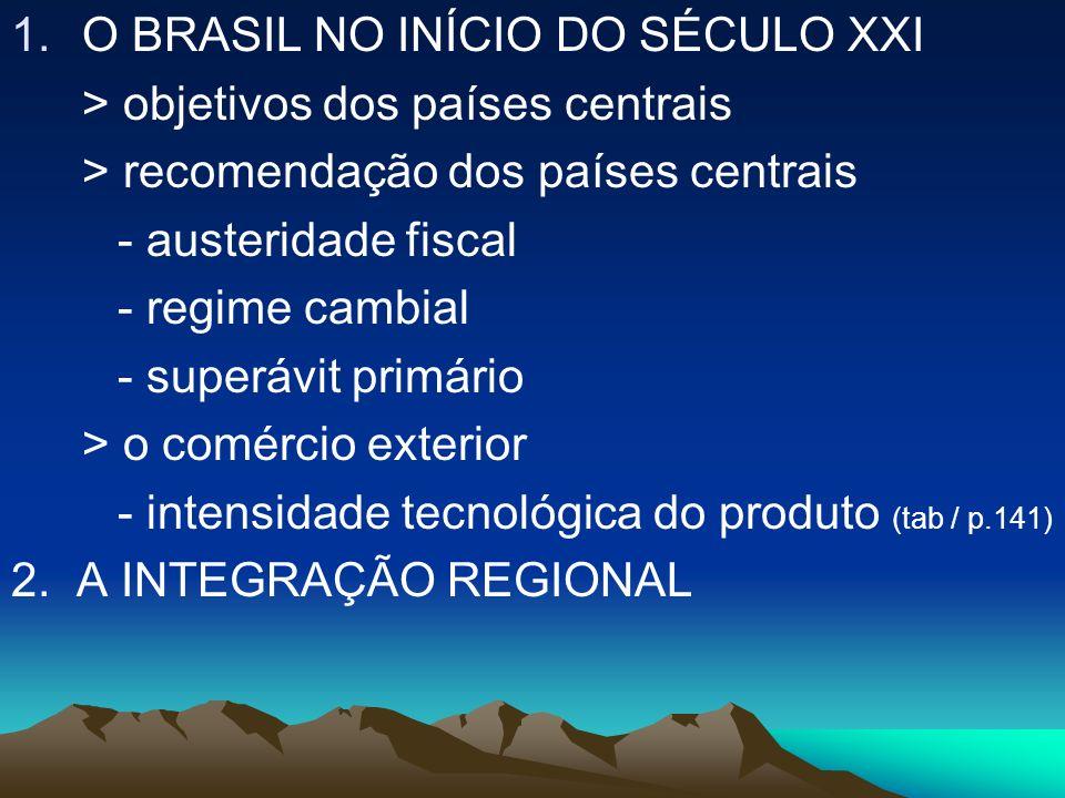 1.O BRASIL NO INÍCIO DO SÉCULO XXI > objetivos dos países centrais > recomendação dos países centrais - austeridade fiscal - regime cambial - superávi