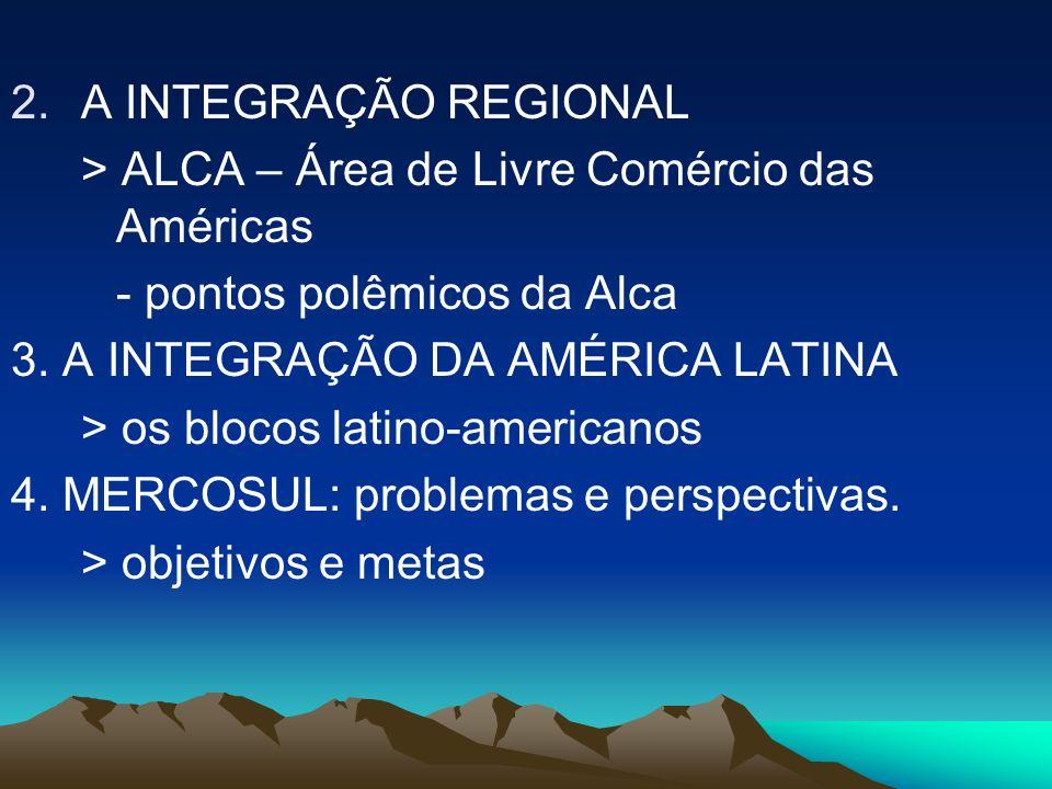 > ALCA – Área de Livre Comércio das Américas - pontos polêmicos da Alca 3. A INTEGRAÇÃO DA AMÉRICA LATINA > os blocos latino-americanos 4. MERCOSUL: p
