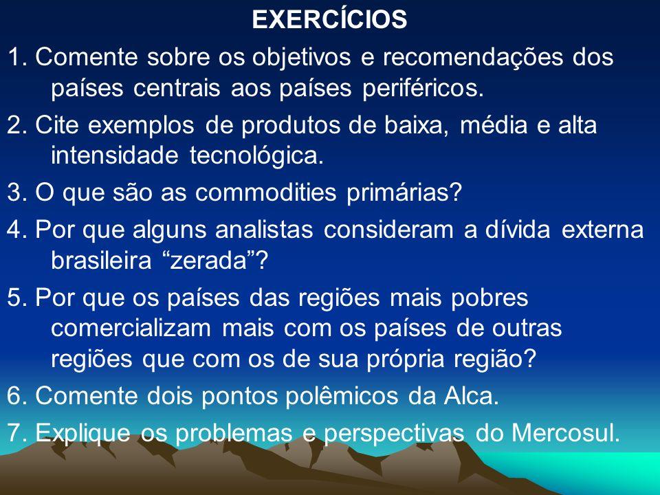 EXERCÍCIOS 1. Comente sobre os objetivos e recomendações dos países centrais aos países periféricos. 2. Cite exemplos de produtos de baixa, média e al
