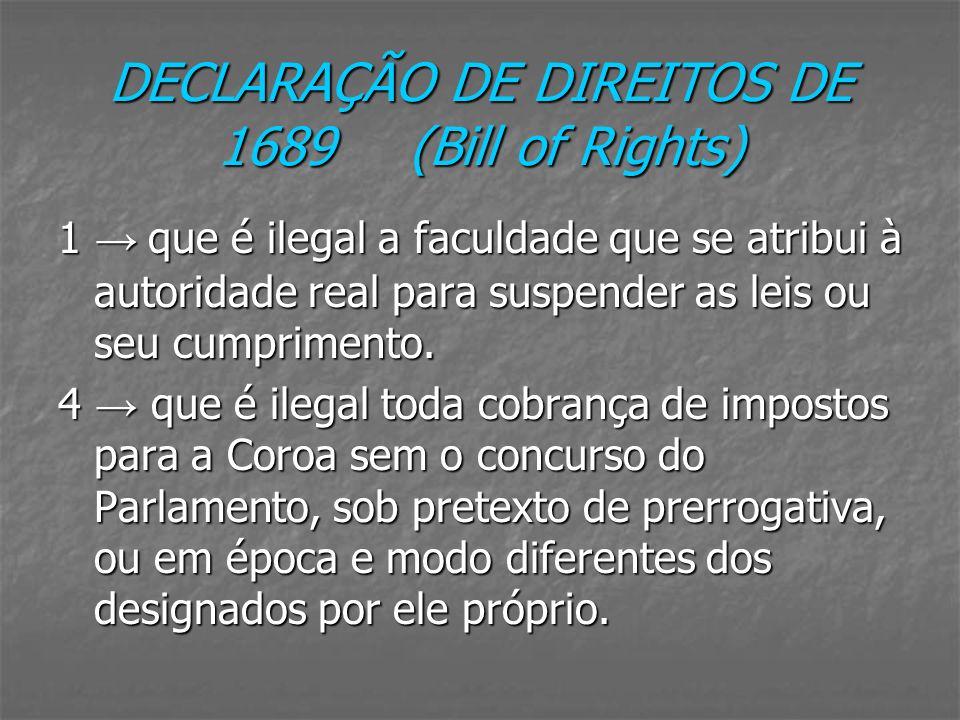 DECLARAÇÃO DE DIREITOS DE 1689 (Bill of Rights) 1 que é ilegal a faculdade que se atribui à autoridade real para suspender as leis ou seu cumprimento.