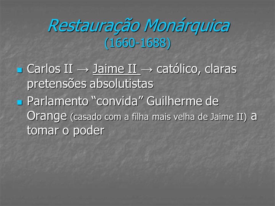 Restauração Monárquica (1660-1688) Carlos II Jaime II católico, claras pretensões absolutistas Carlos II Jaime II católico, claras pretensões absoluti