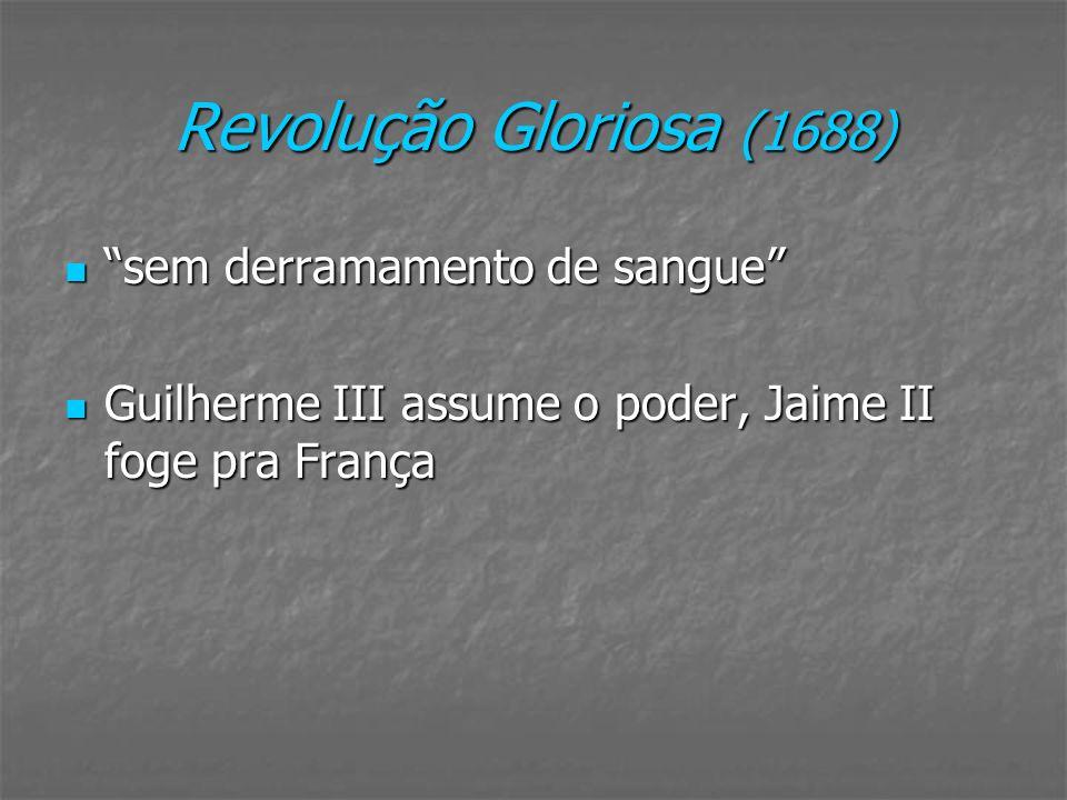 Revolução Gloriosa (1688) sem derramamento de sangue sem derramamento de sangue Guilherme III assume o poder, Jaime II foge pra França Guilherme III a