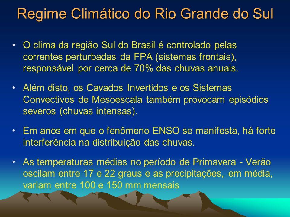 Regime Climático do Rio Grande do Sul O clima da região Sul do Brasil é controlado pelas correntes perturbadas da FPA (sistemas frontais), responsável