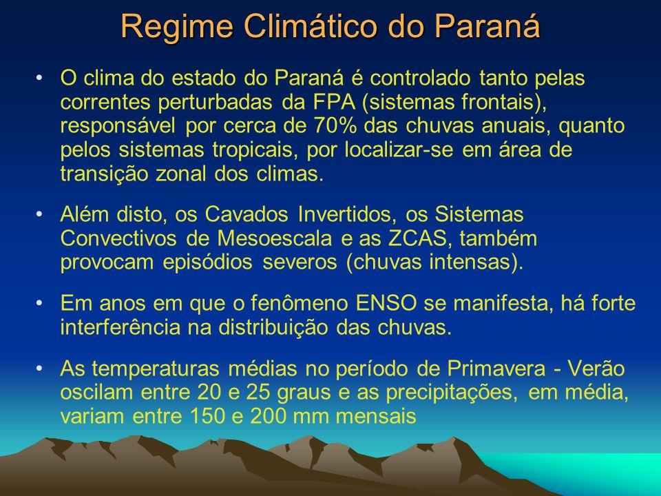 Regime Climático do Paraná O clima do estado do Paraná é controlado tanto pelas correntes perturbadas da FPA (sistemas frontais), responsável por cerc
