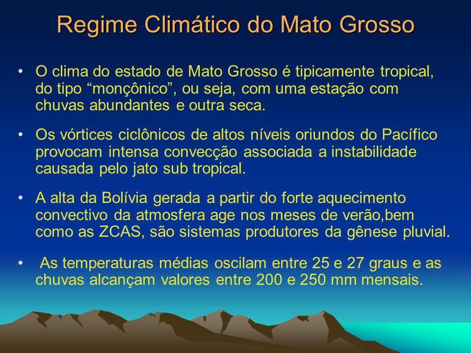 Regime Climático do Mato Grosso O clima do estado de Mato Grosso é tipicamente tropical, do tipo monçônico, ou seja, com uma estação com chuvas abunda