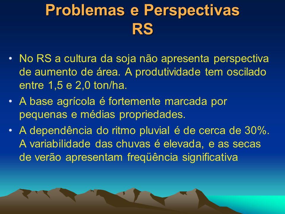 Problemas e Perspectivas RS No RS a cultura da soja não apresenta perspectiva de aumento de área. A produtividade tem oscilado entre 1,5 e 2,0 ton/ha.