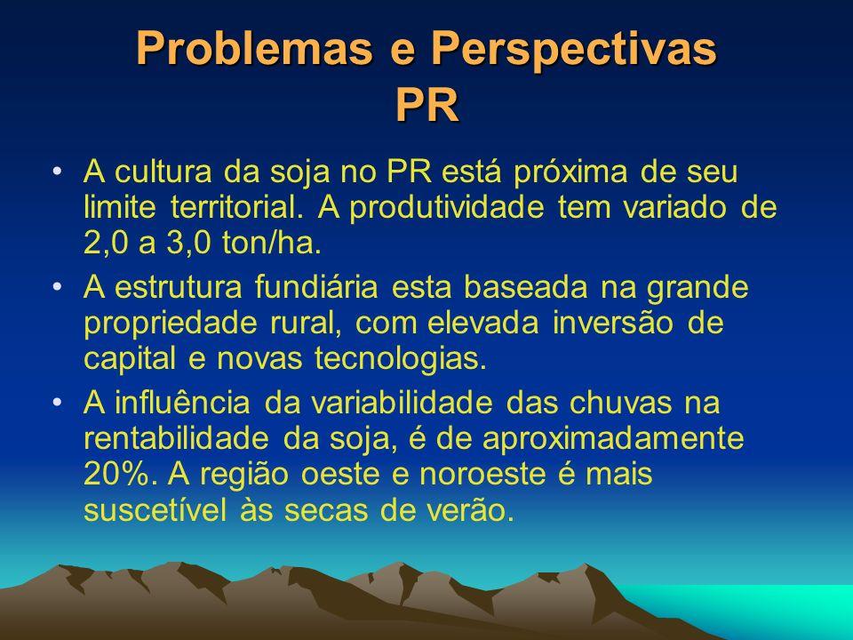 Problemas e Perspectivas PR A cultura da soja no PR está próxima de seu limite territorial. A produtividade tem variado de 2,0 a 3,0 ton/ha. A estrutu