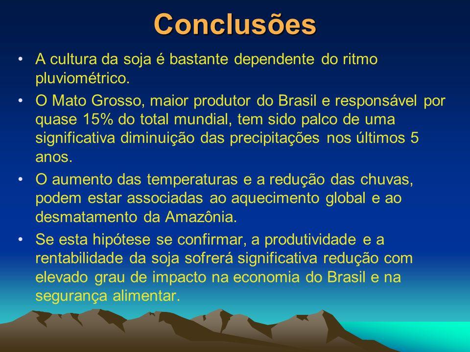 Conclusões A cultura da soja é bastante dependente do ritmo pluviométrico. O Mato Grosso, maior produtor do Brasil e responsável por quase 15% do tota