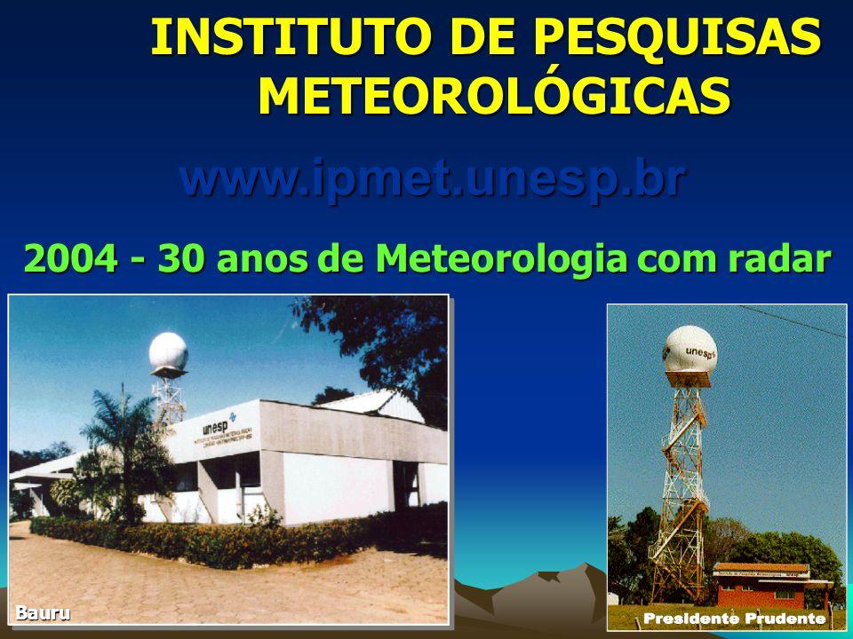2004 - 30 anos de Meteorologia com radar INSTITUTO DE PESQUISAS METEOROLÓGICASwww.ipmet.unesp.br Bauru