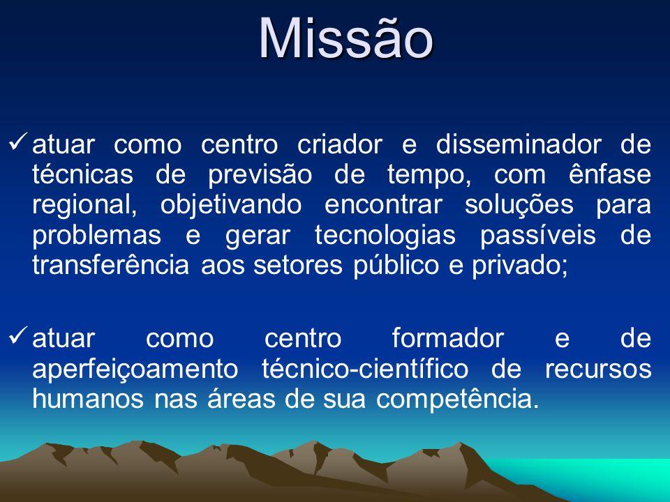 Missão atuar como centro criador e disseminador de técnicas de previsão de tempo, com ênfase regional, objetivando encontrar soluções para problemas e