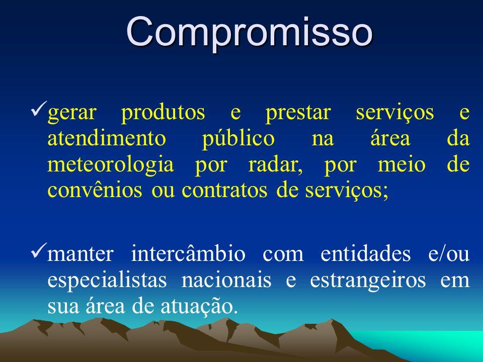 Compromisso gerar produtos e prestar serviços e atendimento público na área da meteorologia por radar, por meio de convênios ou contratos de serviços;
