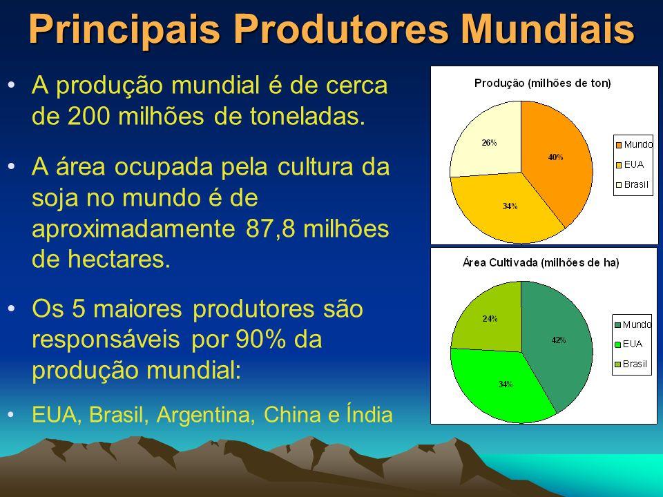 Principais Produtores Mundiais A produção mundial é de cerca de 200 milhões de toneladas. A área ocupada pela cultura da soja no mundo é de aproximada