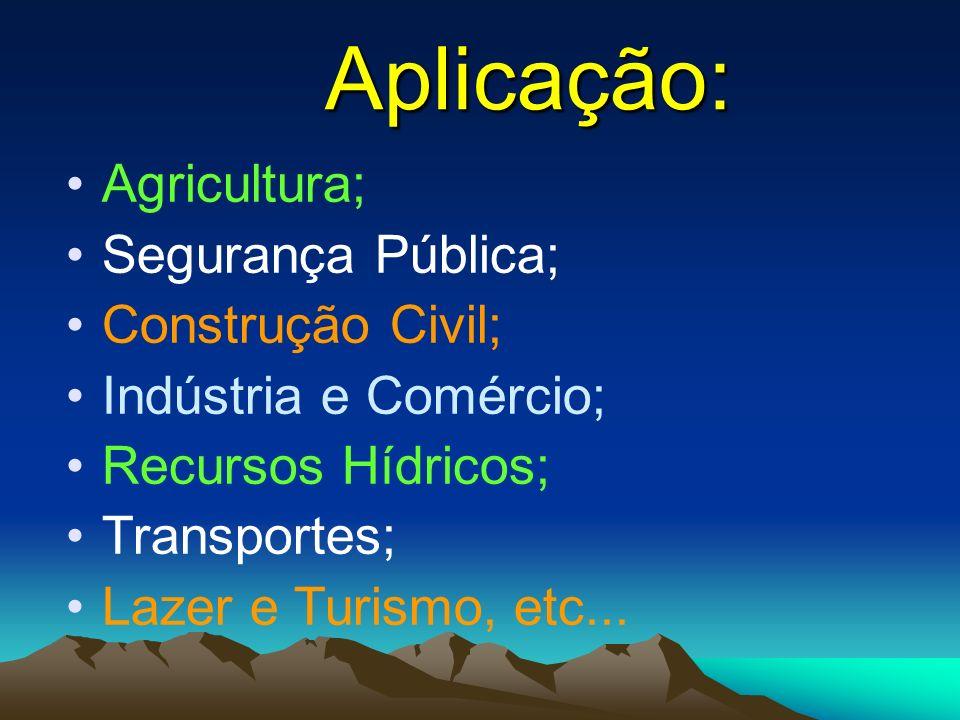 Aplicação: Agricultura; Segurança Pública; Construção Civil; Indústria e Comércio; Recursos Hídricos; Transportes; Lazer e Turismo, etc...