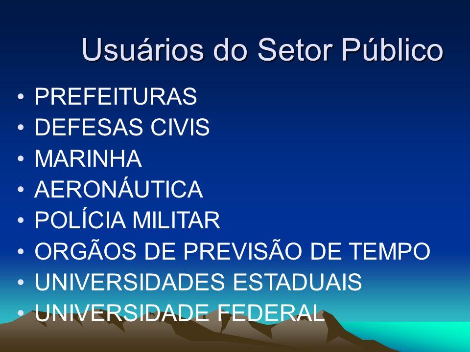Usuários do Setor Público PREFEITURAS DEFESAS CIVIS MARINHA AERONÁUTICA POLÍCIA MILITAR ORGÃOS DE PREVISÃO DE TEMPO UNIVERSIDADES ESTADUAIS UNIVERSIDA