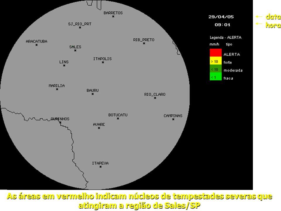 As áreas em vermelho indicam núcleos de tempestades severas que atingiram a região de Sales/SP datahora