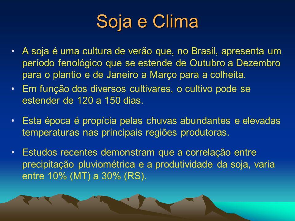 Soja e Clima A soja é uma cultura de verão que, no Brasil, apresenta um período fenológico que se estende de Outubro a Dezembro para o plantio e de Ja