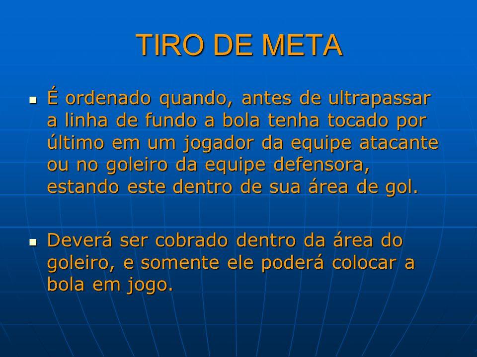 TIRO DE META É ordenado quando, antes de ultrapassar a linha de fundo a bola tenha tocado por último em um jogador da equipe atacante ou no goleiro da