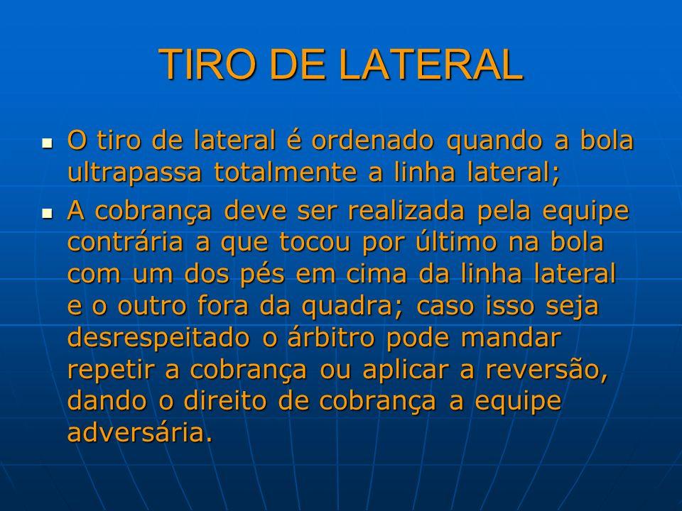 TIRO DE LATERAL O tiro de lateral é ordenado quando a bola ultrapassa totalmente a linha lateral; O tiro de lateral é ordenado quando a bola ultrapass