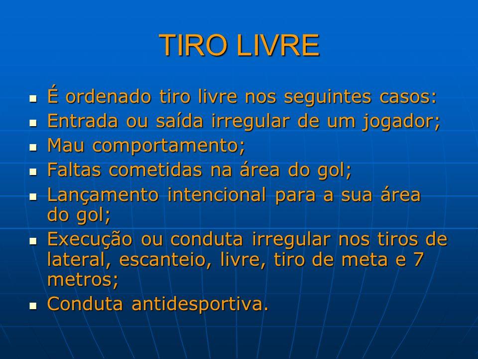 TIRO LIVRE É ordenado tiro livre nos seguintes casos: É ordenado tiro livre nos seguintes casos: Entrada ou saída irregular de um jogador; Entrada ou