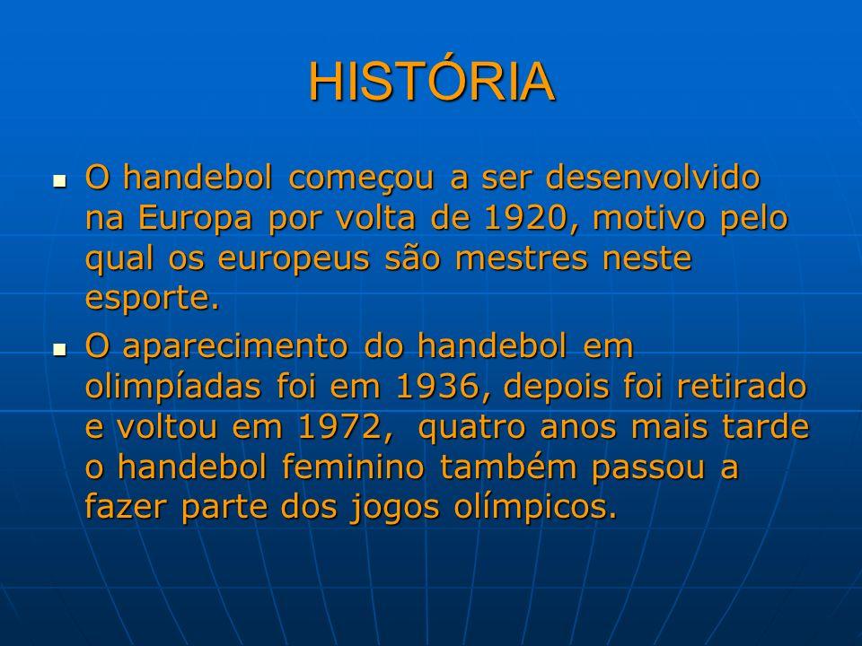 HISTÓRIA O handebol começou a ser desenvolvido na Europa por volta de 1920, motivo pelo qual os europeus são mestres neste esporte. O handebol começou