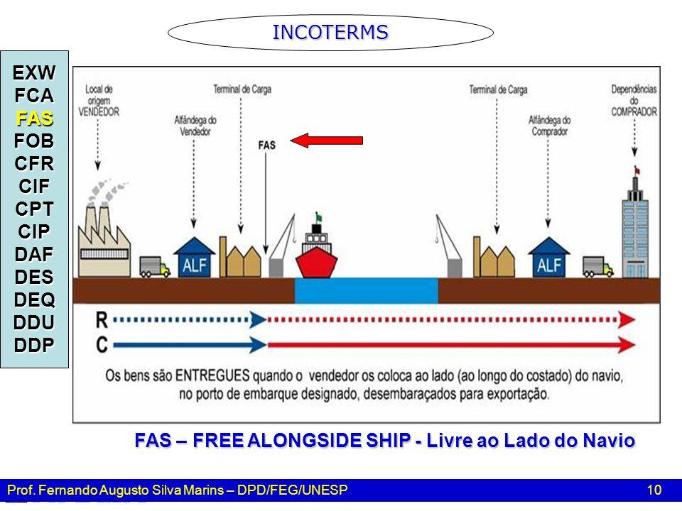 Prof. Fernando Augusto Silva Marins – DPD/FEG/UNESP 10 INCOTERMS EXWFCAFASFOBCFRCIFCPTCIPDAFDESDEQDDUDDP FAS – FREE ALONGSIDE SHIP - Livre ao Lado do
