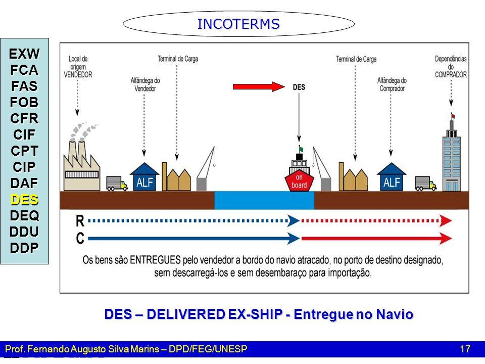 Prof. Fernando Augusto Silva Marins – DPD/FEG/UNESP 17 INCOTERMS EXWFCAFASFOBCFRCIFCPTCIPDAFDESDEQDDUDDP DES – DELIVERED EX-SHIP - Entregue no Navio