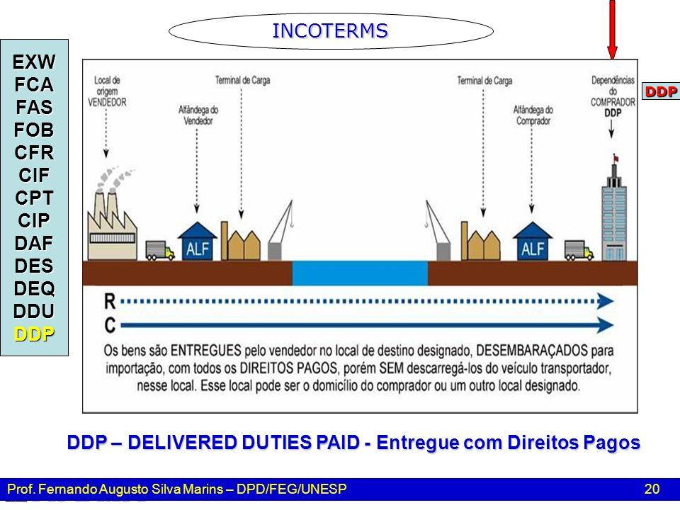 Prof. Fernando Augusto Silva Marins – DPD/FEG/UNESP 20 INCOTERMS EXWFCAFASFOBCFRCIFCPTCIPDAFDESDEQDDUDDP DDP – DELIVERED DUTIES PAID - Entregue com Di