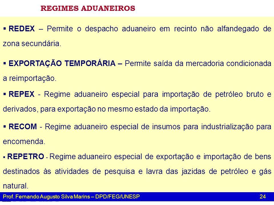 Prof. Fernando Augusto Silva Marins – DPD/FEG/UNESP 24 RECOM - Regime aduaneiro especial de insumos para industrialização para encomenda. REPETRO - Re