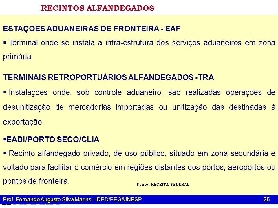 Prof. Fernando Augusto Silva Marins – DPD/FEG/UNESP 25 ESTAÇÕES ADUANEIRAS DE FRONTEIRA - EAF Terminal onde se instala a infra-estrutura dos serviços