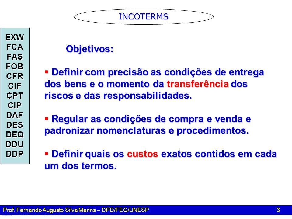 Prof. Fernando Augusto Silva Marins – DPD/FEG/UNESP 3 Objetivos: Objetivos: Definir com precisão as condições de entrega dos bens e o momento da trans