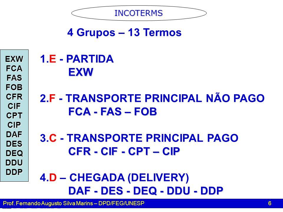 Prof. Fernando Augusto Silva Marins – DPD/FEG/UNESP 6 4 Grupos – 13 Termos 1.E - PARTIDAEXW 2.F - TRANSPORTE PRINCIPAL NÃO PAGO FCA - FAS – FOB 3.C -