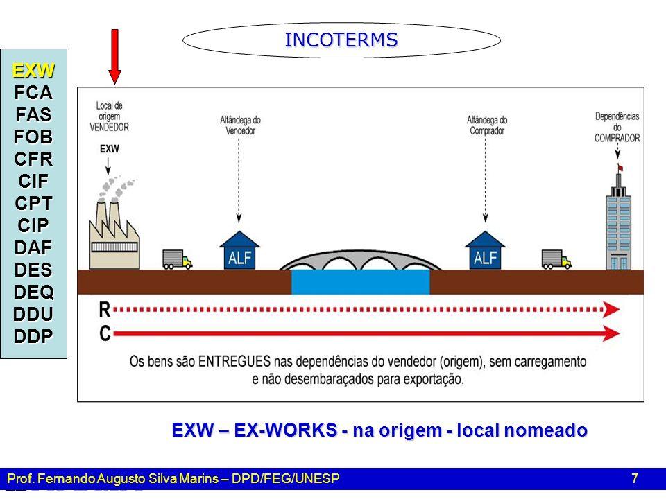 Prof. Fernando Augusto Silva Marins – DPD/FEG/UNESP 7 EXWFCAFASFOBCFRCIFCPTCIPDAFDESDEQDDUDDP EXW – EX-WORKS - na origem - local nomeado INCOTERMS
