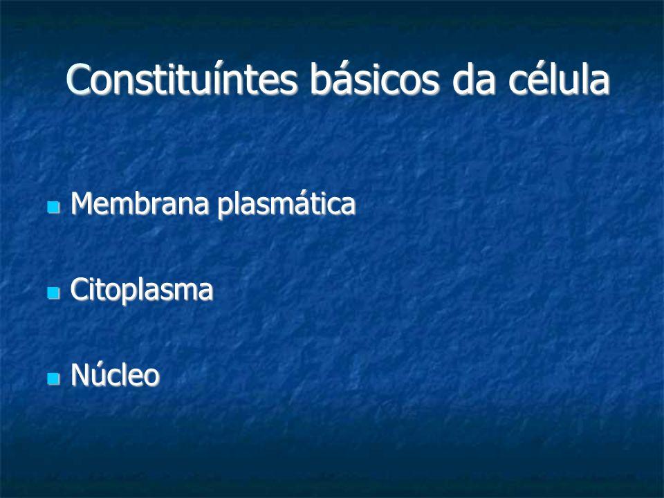 Constituíntes básicos da célula Constituíntes básicos da célula Membrana plasmática Membrana plasmática Citoplasma Citoplasma Núcleo Núcleo