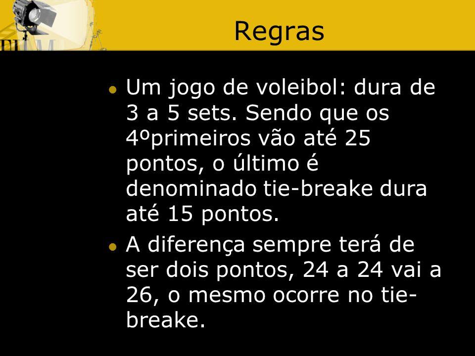 Regras Um jogo de voleibol: dura de 3 a 5 sets.