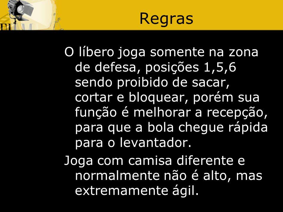 Regras O líbero joga somente na zona de defesa, posições 1,5,6 sendo proibido de sacar, cortar e bloquear, porém sua função é melhorar a recepção, para que a bola chegue rápida para o levantador.