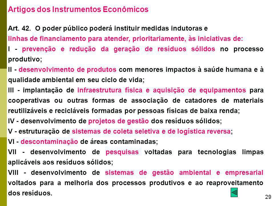 29 Artigos dos Instrumentos Econômicos Art. 42. O poder público poderá instituir medidas indutoras e linhas de financiamento para atender, prioritaria