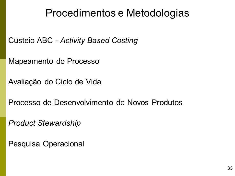 33 Procedimentos e Metodologias Custeio ABC - Activity Based Costing Mapeamento do Processo Avaliação do Ciclo de Vida Processo de Desenvolvimento de