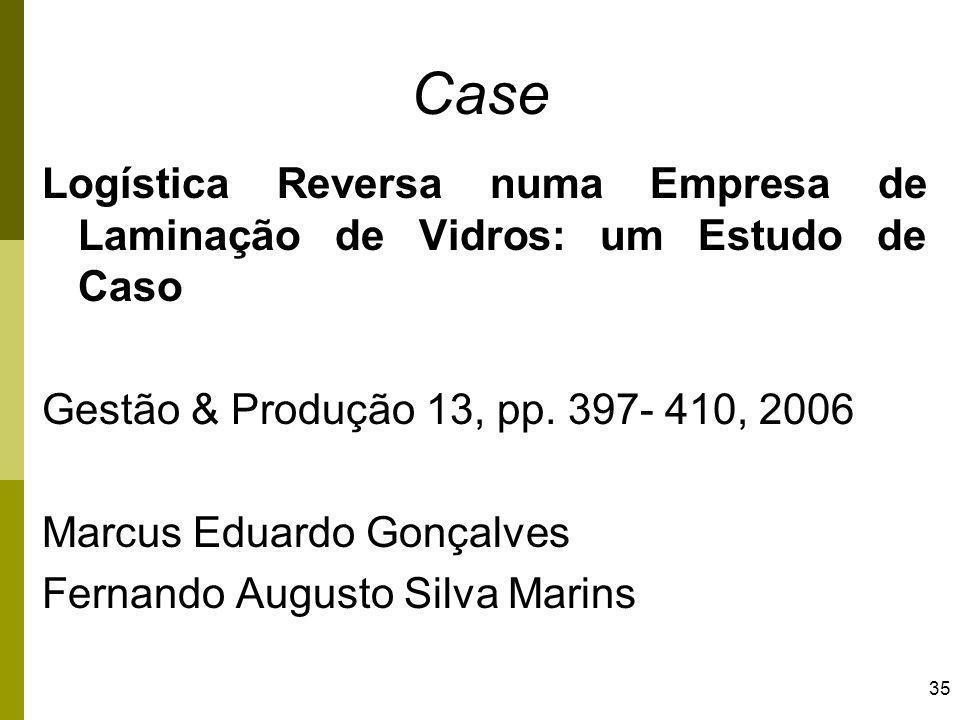 35 Case Logística Reversa numa Empresa de Laminação de Vidros: um Estudo de Caso Gestão & Produção 13, pp. 397- 410, 2006 Marcus Eduardo Gonçalves Fer