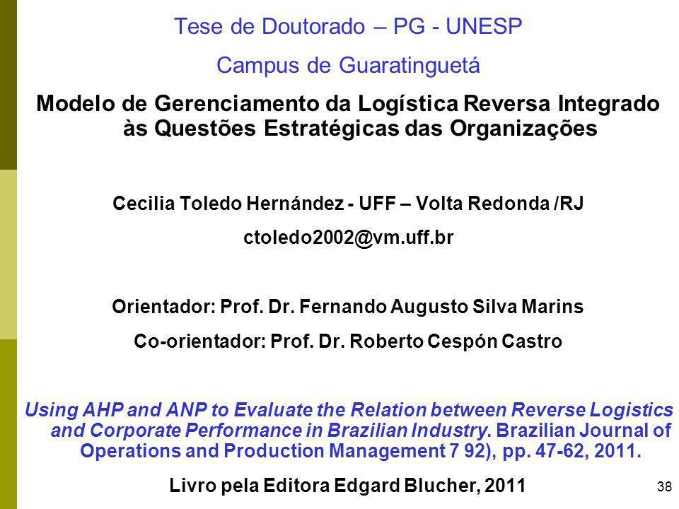 38 Tese de Doutorado – PG - UNESP Campus de Guaratinguetá Modelo de Gerenciamento da Logística Reversa Integrado às Questões Estratégicas das Organiza