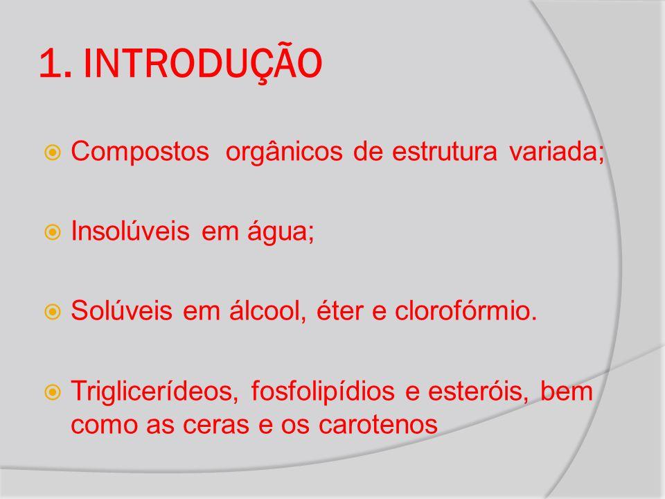 1. INTRODUÇÃO Compostos orgânicos de estrutura variada; Insolúveis em água; Solúveis em álcool, éter e clorofórmio. Triglicerídeos, fosfolipídios e es