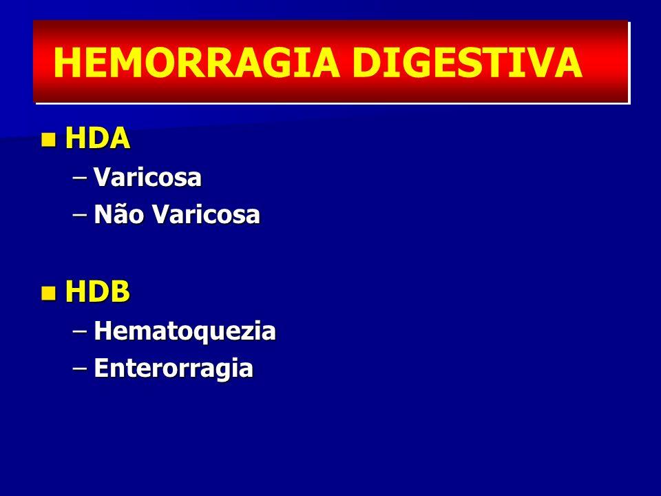 HDA HDA –Varicosa –Não Varicosa HDB HDB –Hematoquezia –Enterorragia HEMORRAGIA DIGESTIVA