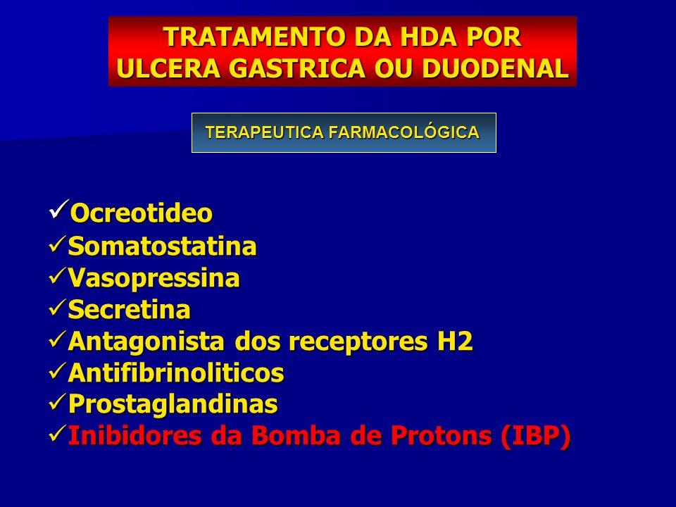 TRATAMENTO DA HDA POR ULCERA GASTRICA OU DUODENAL TERAPEUTICA FARMACOLÓGICA Ocreotideo Ocreotideo Somatostatina Somatostatina Vasopressina Vasopressin